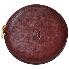 Cartier Signature Embossed Burgundy Textured Calfskin Zippered Change Purse