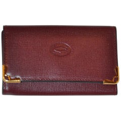 Cartier Signature Burgundy Textured Calfskin Key Holder with Gold Accents