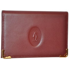 Cartier Burgundy Calfskin with Gold Hardware Accent Credit Card Wallet