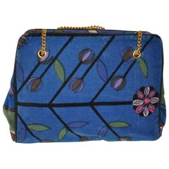Emilio Pucci Three Sectional with Center Snap Multi-Floral Velvet Handbag