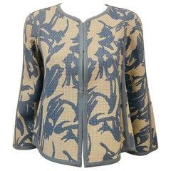 Armani Collezioni Hand Woven Leather Grey & Light Blue Print Jacket