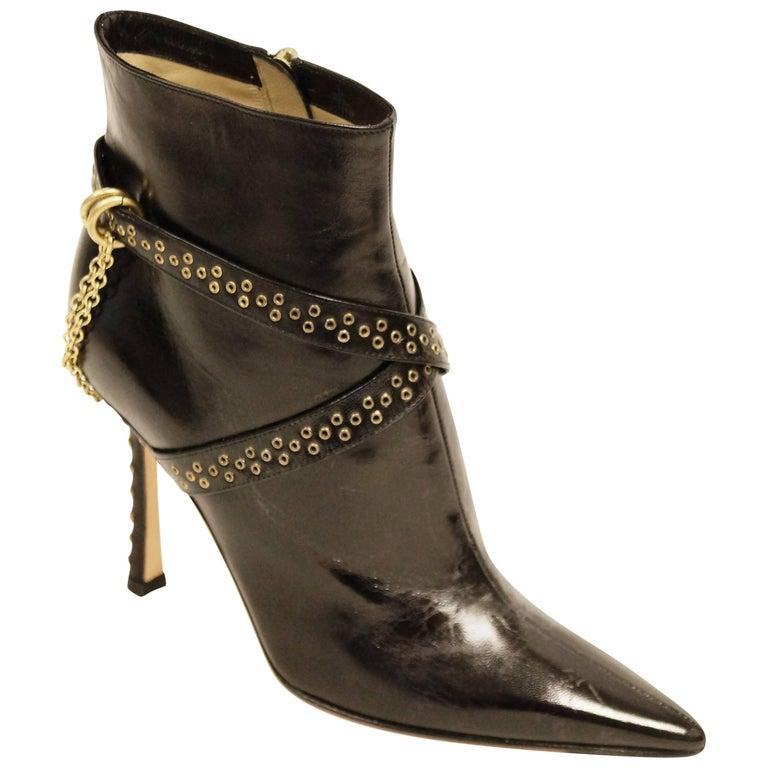 Jimmy Choo Black Kid Leather Chain Boots, 2006
