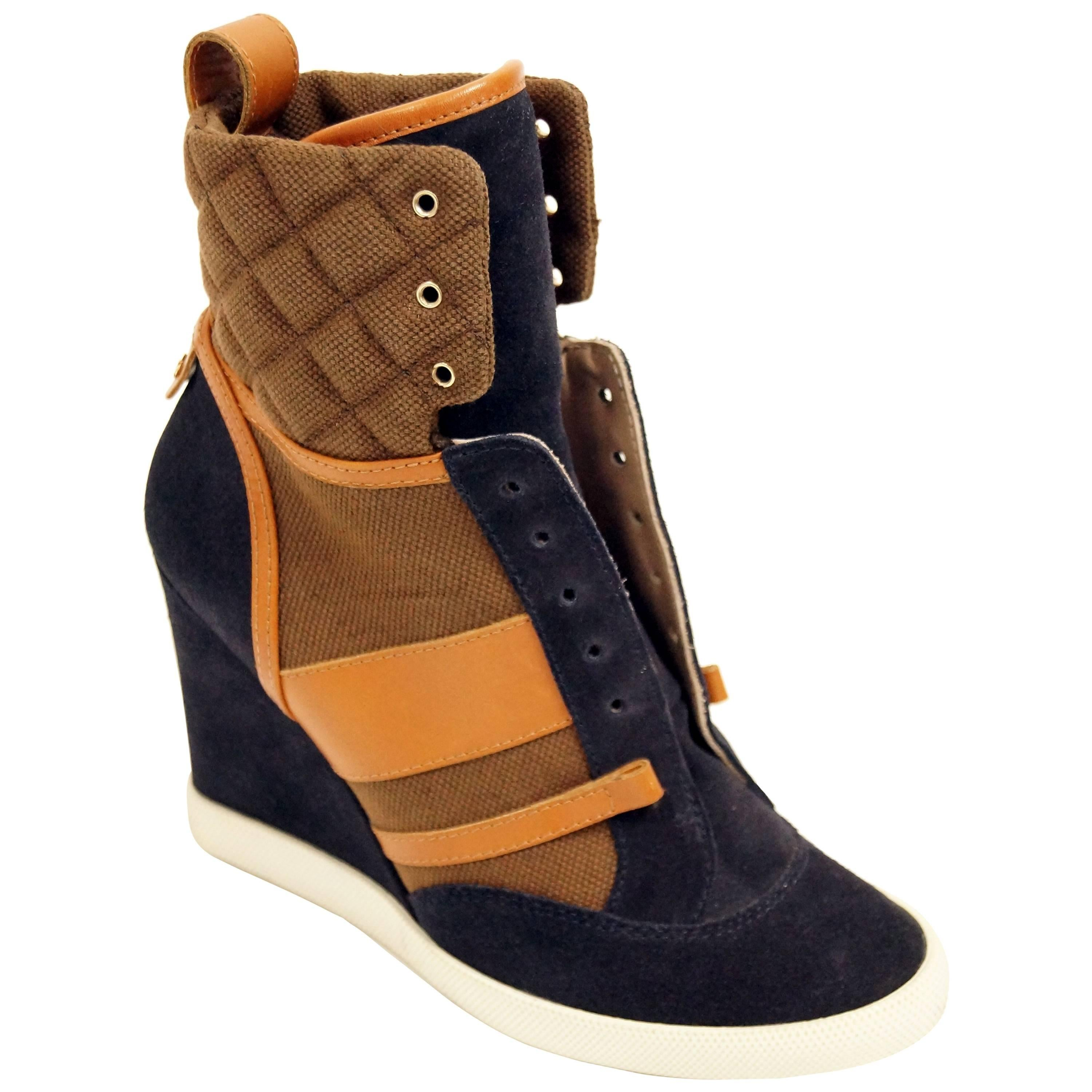 Chloé Blue and Brown Suede, Leather and