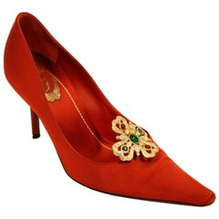 Rene Caovilla Red Satin Pointed Heels with Gold and Rhinestone Accent