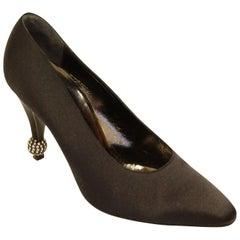 Roger Vivier Black Satin Boule Rhinestone Accent Heels, 1953