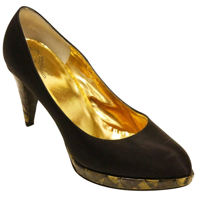 Rodo Black Satin Pumps with Gold Stained Glass Style Heel, 1980s