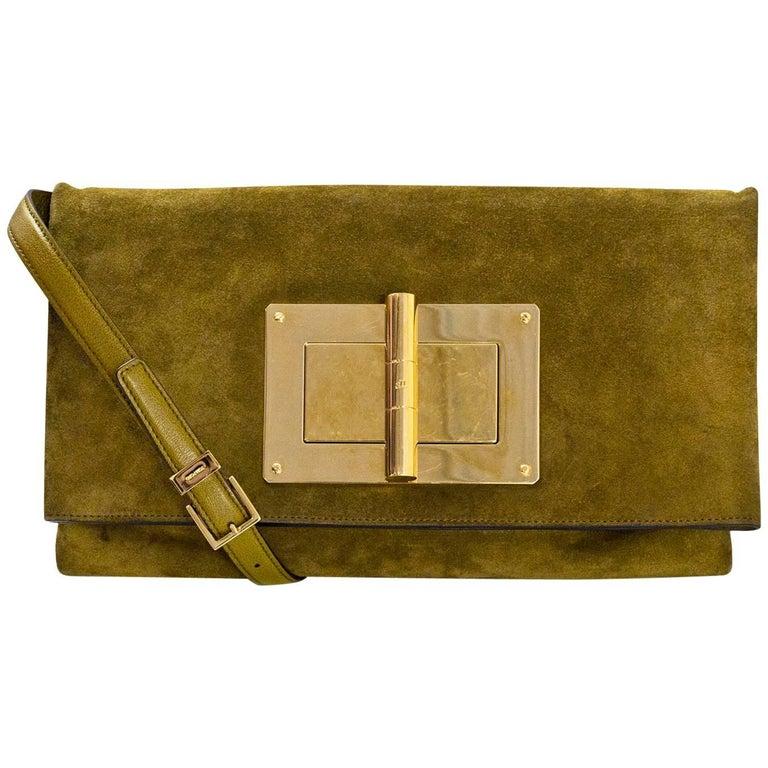 Tom Ford Olive Green Suede Natalia Turnlock Soft Clutch/Crossbody Bag