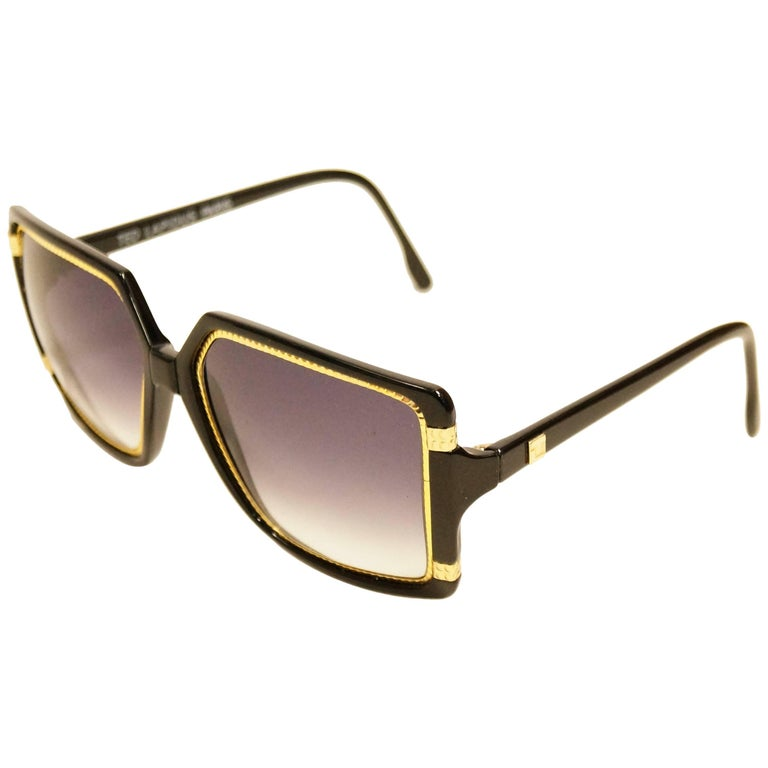 20900ce15a Ted Lapidus Thick Black Lucite and Engraved Gold Hardware Sunglasses ...