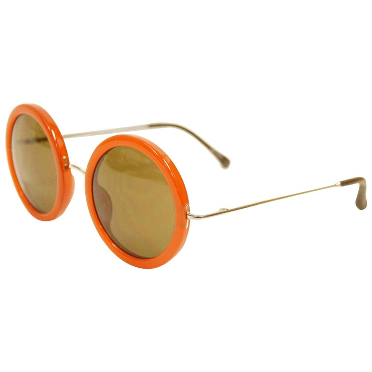ab2df196def1 Linda Farrow The Row Round amber frame Sunglasses For Sale at 1stdibs