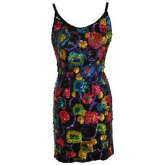 "Lillie Rubin Whimsical Multicolor '80s Sequin Body-hugging ""Disco"" Tank Dress"