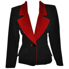 "Yves Saint Laurent Signature Black Accented with Red Velvet ""Smoking"" Jacket"