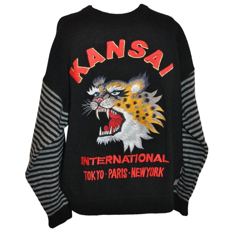 "Kansai Yamamoto Hand Embroidered ""Tiger"" Wool Pullover"