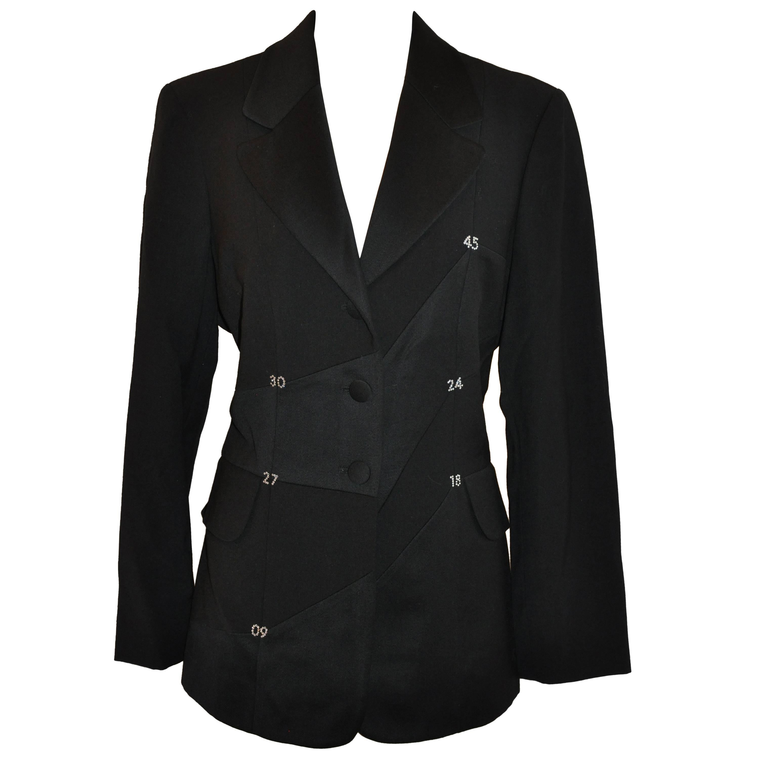 """Moschino Black """"Numerology"""" Deconstructed Blazer with Two Set-In Pockets"""