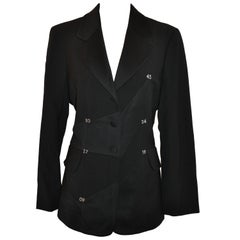 "Moschino Black ""Numerology"" Deconstructed Blazer with Two Set-In Pockets"