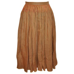 Oscar de la Renta Silk Linen Deep Tan Hand-Pleated Stripe Accent Pleated Skirt