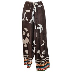 "Oscar de la Renta Coco Brown ""Tribal Abstract"" Silk Sarong Style Lounge Trousers"