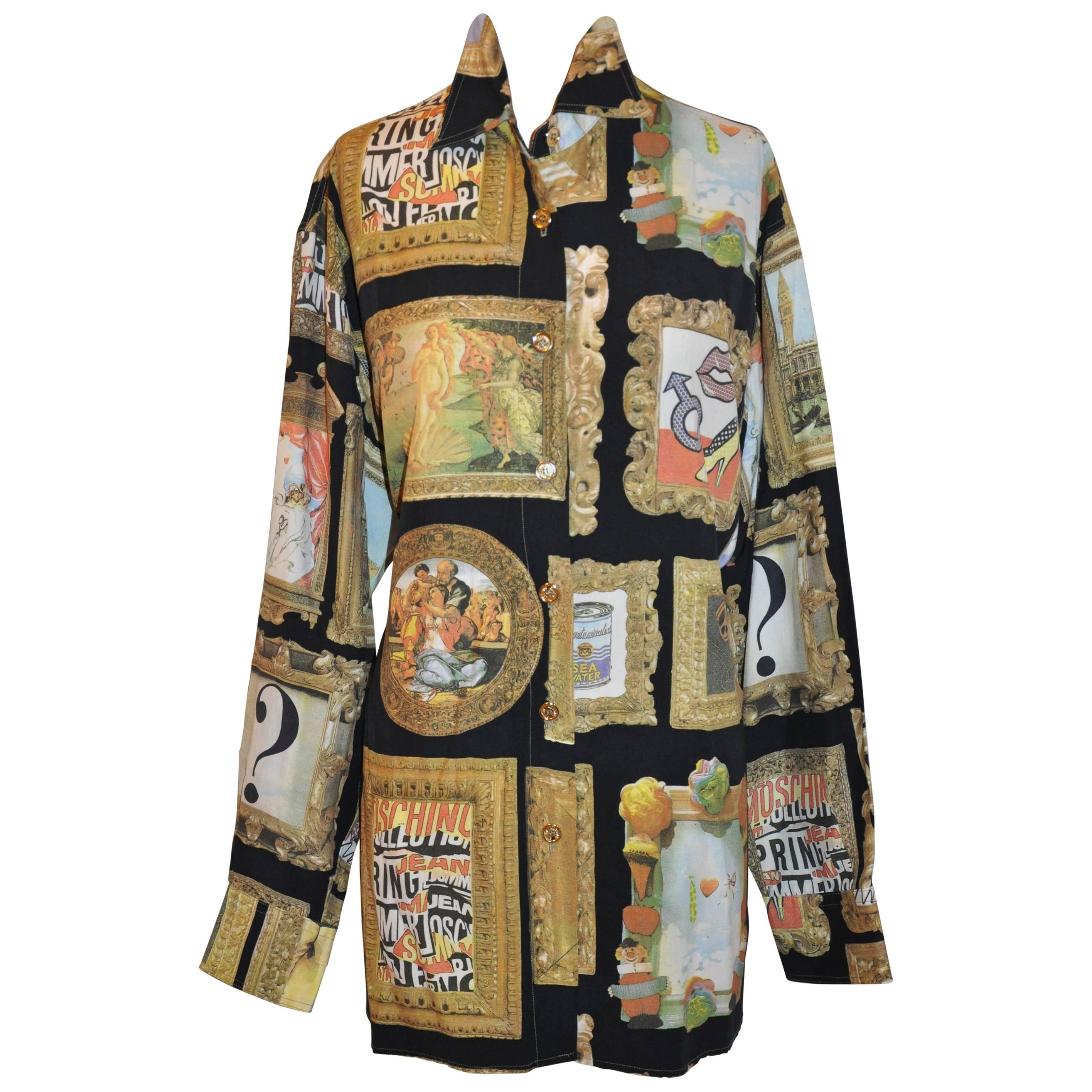 """Moschino Whimsical Multicolor """"Multi Portraits"""" with Gilded Gold Buttons Shirt"""
