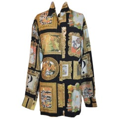 "Moschino Whimsical Multicolor ""Multi Portraits"" with Gilded Gold Buttons Shirt"