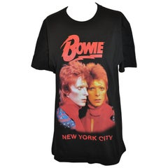 "David Bowie ""New York Retrospective Exhibition"" ""Double Portrait"" Black Tee"