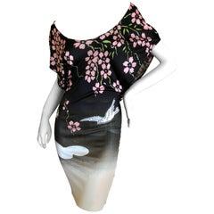 Gucci 2003 Tom Ford Japonaise Dogwood Blossom Mini Dress