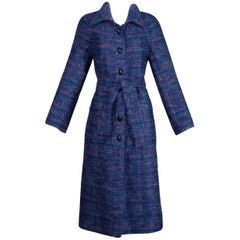 Late 1970s/ Early 1980s Bernard Perris Vintage Purple + Blue Mohair Trench Coat