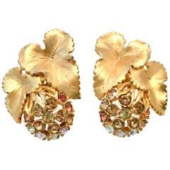 "50'S Elsa Schiaparelli Gold & Swarovski Crystal ""Fruit"" Earrings"