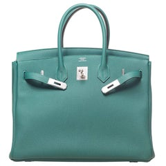 New in Box Hermes Birkin Malachite Togo 35CM