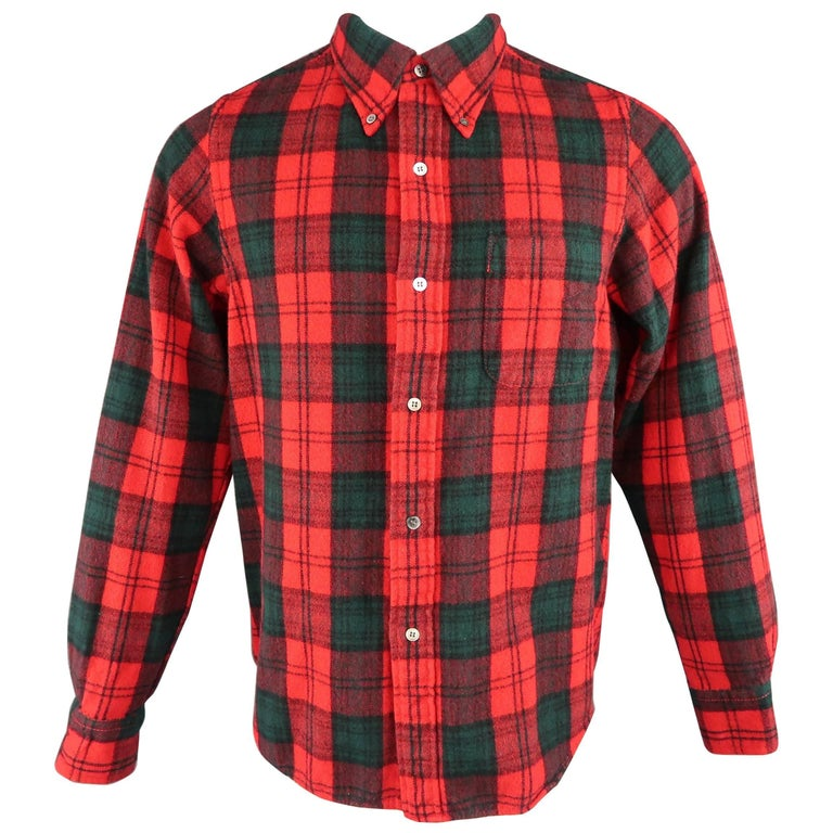 Men's JUNYA WATANABE Size S Red & Green Plaid Wool Blend Button Down Flannel Shi