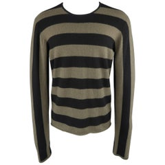 Men's JIL SANDER Size XL Black & Olive Green Striped Cashmere Pullover Sweater