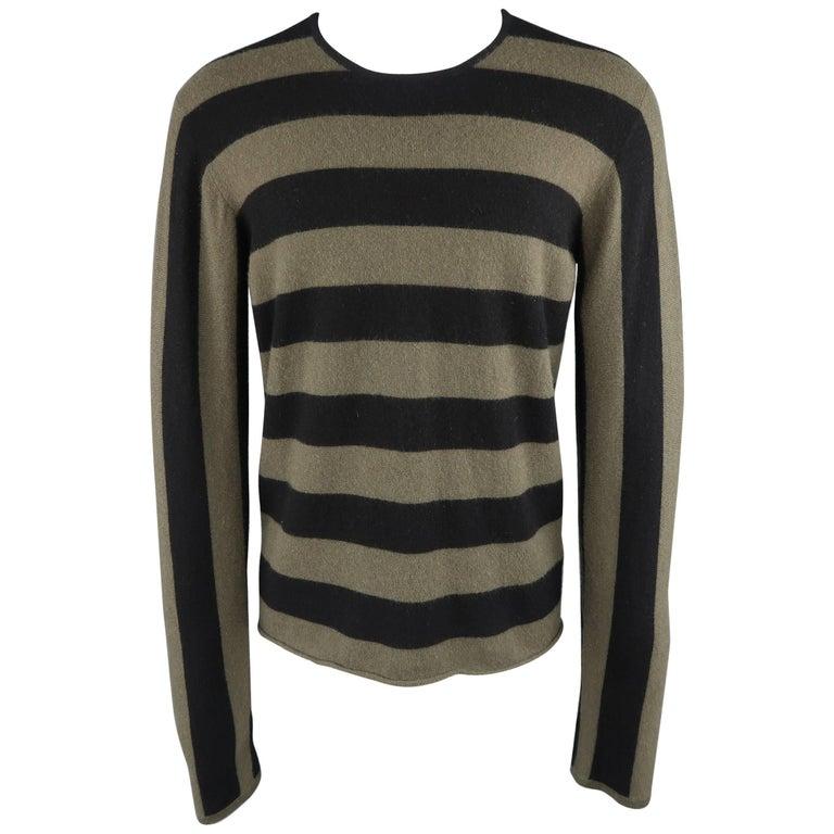 Men's JIL SANDER Size XL Black & Olive Green Striped Cashmere Pullover Sweater