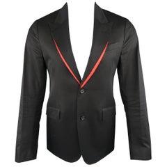 Men's ALEXANDER MCQUEEN 38 Regular Black Cotton Red Trim Peak Lapel Sport Coat