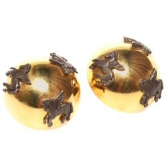 Hermes Vintage Pegasus Clip On Earrings