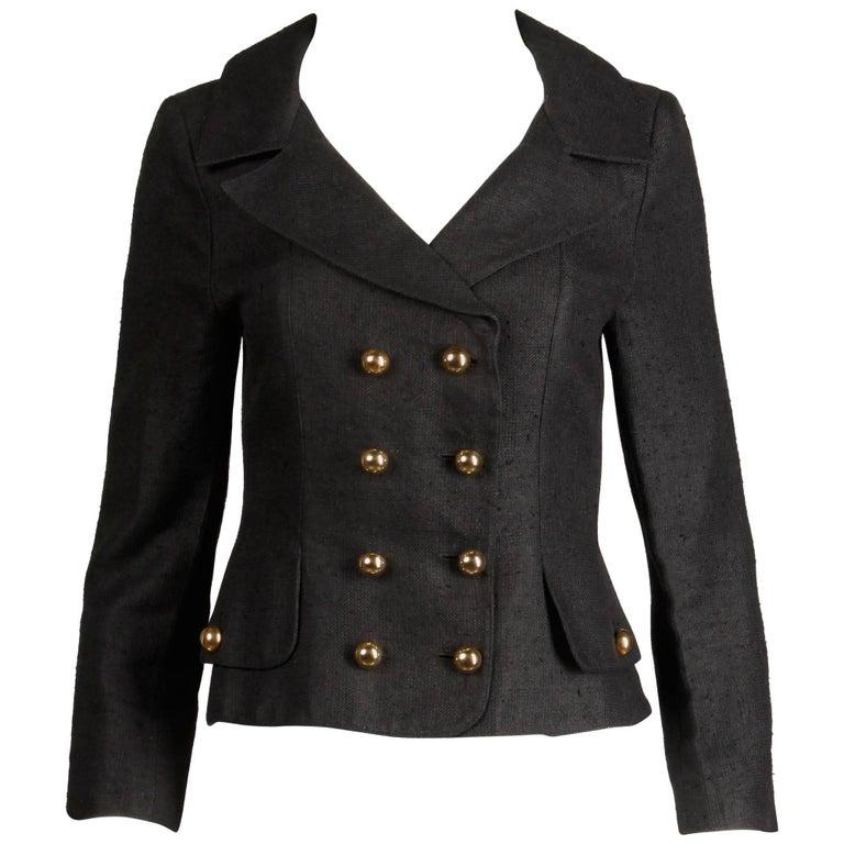 1990s Christian Lacroix Pret-a-Porter Vintage Black Silk Linen Blazer Jacket