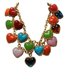 Chanel Gripoix Love Heart Charm Necklace