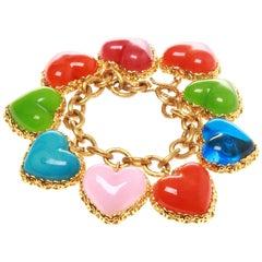 Chanel Gripoix Love Heart Charm Bracelet