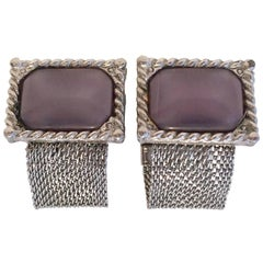 Vintage Pair Of Silver Metal Mesh Amethyst Lucite Moon Stone Cuff LInk