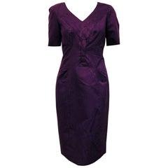 Carolina Herrera Purple V Neck Short Sleeve Sheath Dress With Gathering at Waist