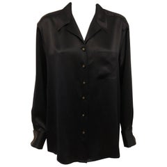Chanel Black Long Sleeve Silk Blouse & Long Sleeves with Cuffs