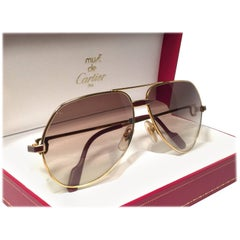 New Cartier Laque de Chine Aviator Gold 56Mm Heavy Plated Sunglasses France