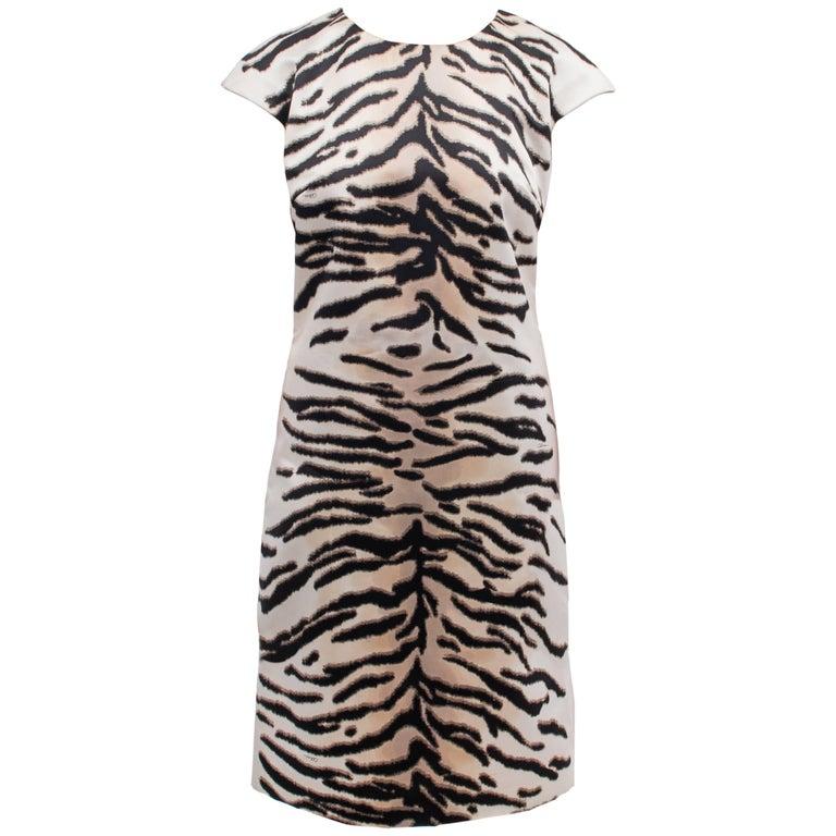 Celine White Satin Animal Pattern Dress