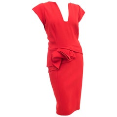 Elie Saab Red Cocktail Dress with Gathered Waist