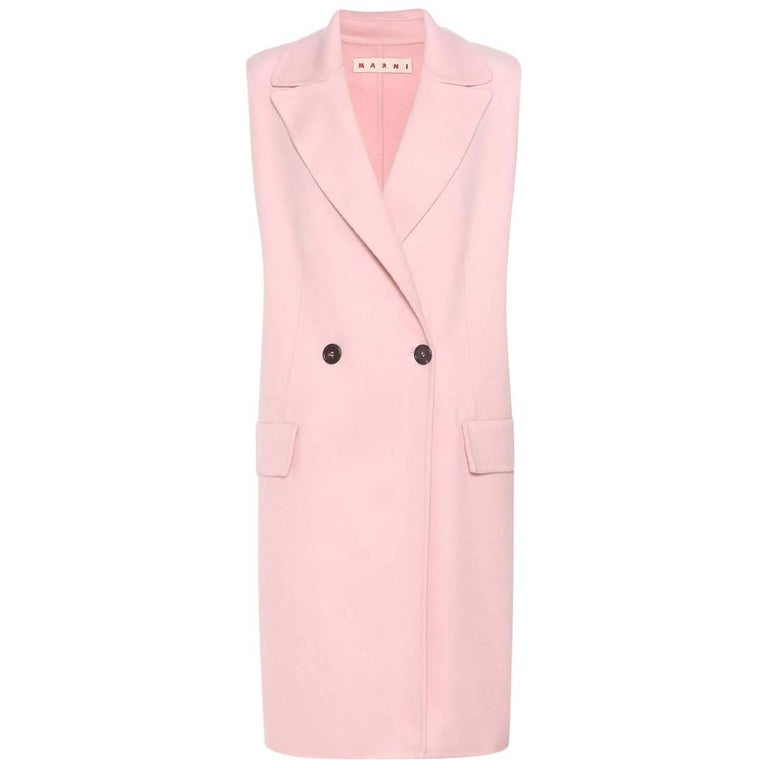 Marni Pink Wool Long Coat Vest