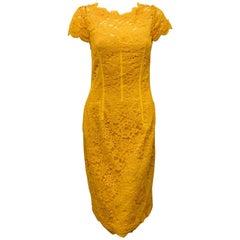 Monique Lhuiller Lemon Amber Lace Open Back Dress With Cap Sleeve