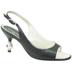 Chanel Black Slingback Heel w/ CC Pearl Heel - 36.5