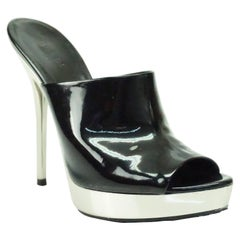 Gucci Black Patent Leather Platform Slide Sandal Heel - 36