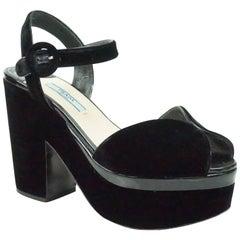 Prada Black Velvet Ankle Strap Platform Heel - 37
