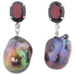 8.35 Carats Garnets and FireBall Pearl Sterling Silver Stud Earrings