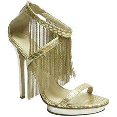 Brian Atwood Gold Metal Fringe Back Zip Sandal Heel - 7.5