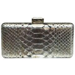 Oscar De La Renta Metallic Python Box Clutch