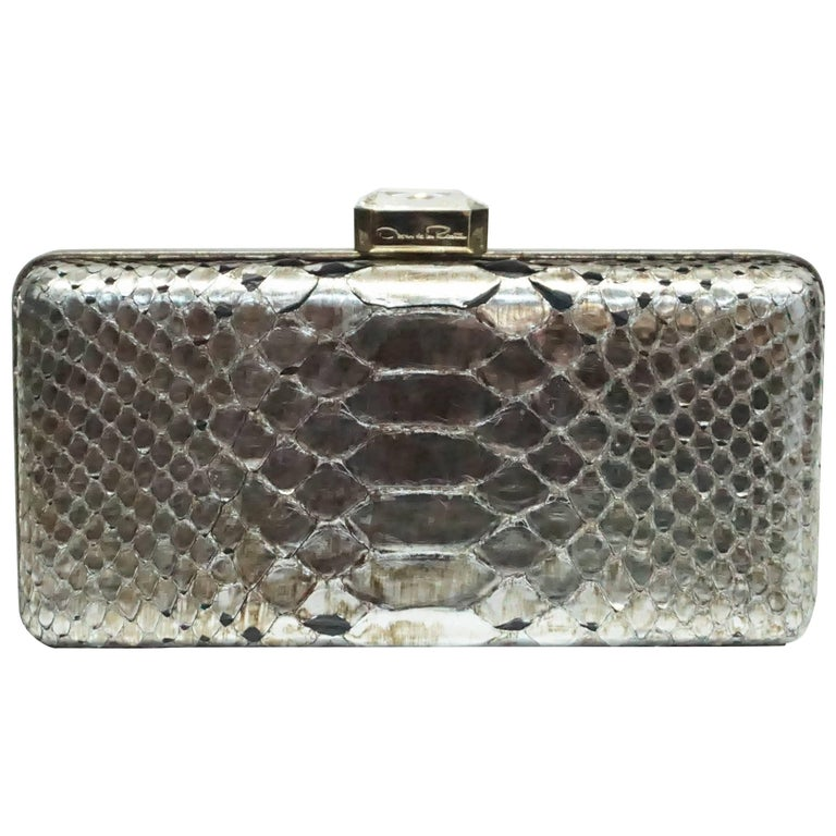 Oscar De La Renta Metallic Python Box Clutch For Sale